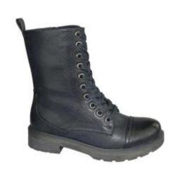 Women's Wanderlust Holly Water Resistant Combat Boot Black Water Resistant PU | Overstock