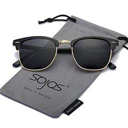 SOJOS Clubmaster Semi Rimless Polarized Sunglasses Half Horn Rimmed Glasses SJ5018 SJ1071 | Amazon (US)