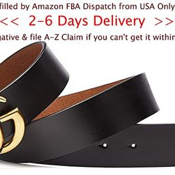 [2-6 Days USA Fast Deliver Guarantee FBA] - 4.0cm Gold Buckle Womens Leather Belt [3.8cm Belt Width]   Amazon (US)
