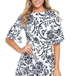 HOTAPEI Women's Floral Pattern Ruffle Hem Chiffon Dress | Amazon (US)