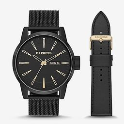 empire black mesh leather watch gift set | Express