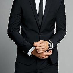 extra slim black performance stretch wool-blend suit jacket | Express