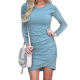 Mansy Women's Long Sleeve Tulip Bodycon Dress Ruched Short Mini Dresses   Amazon (US)