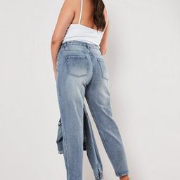 Plus Size Blue Riot Co Ord High Waisted Denim Mom Jeans | Missguided (US & CA)