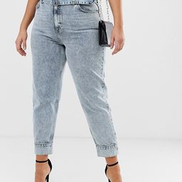 ASOS DESIGN Curve Ritson rigid high waisted mom jeans in light vintage wash with belted waist and... | ASOS US