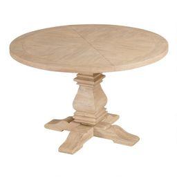 Round Blonde Wood Plank Arcadia Dining Table | World Market