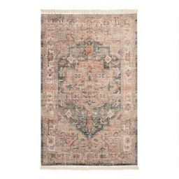 Blush and Green Napa Indoor Outdoor Rug with Backing | World Market