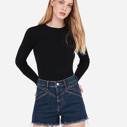 super high waisted seamed fray hem denim shorts   Express