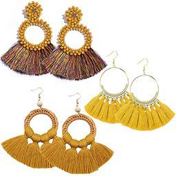 RIOSO Hoop Tassel Earring Beaded Fringe Dangle Earrings Statement Fan Tassel Drop Earring for Wom...   Amazon (US)