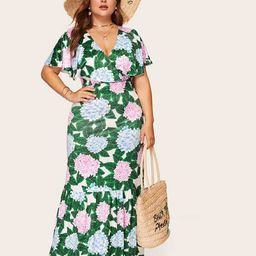 Plus Floral Print Surplice Front Ruffle Dress   SHEIN