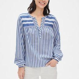 Embroidered Stripe Split-Neck Blouse | Gap (US)