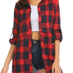 HOTOUCH Womens Flannel Plaid Shirts Roll Up Long Sleeve Pockets Mid-Long Casual Boyfriend Shirts | Amazon (US)