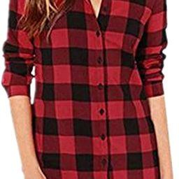 ZANZEA Women Blouses Tops Buffalo Check Plaid Long Sleeve Collar Neck Casual Button Down Shirts | Amazon (US)