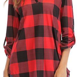 St. Jubileens Women Roll-Up 3/4 Sleeve Plaid Shirt Tunic V Neck Casual Pullover Blouses Tops | Amazon (US)