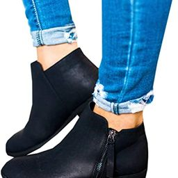 Mafulus Womens Ankle Boots Round Toe Faux Leather Stacked Low Heel Side Zipper Winter Booties | Amazon (US)
