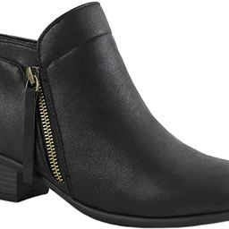 ILLUDE Women's Cowboy Block Heel Side Zipper Ankle Booties Low Heel Shoes | Amazon (US)