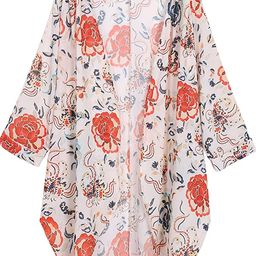 OLRAIN Women's Floral Print Sheer Chiffon Loose Kimono Cardigan Capes   Amazon (US)