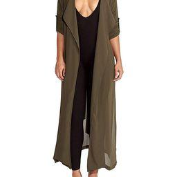 Pure Beauty Women's Long Sleeve Soft Open Front Cover Ups for Women Chiffon Maxi Cardigan | Amazon (US)