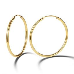 Carleen 14K Yellow Gold Plated 925 Sterling Silver Dainty Thin huggie Piercing Tiny/Small/Medium/...   Amazon (US)