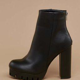 Back Zip Platform Lug Sole Stacked Heel Booties   SHEIN