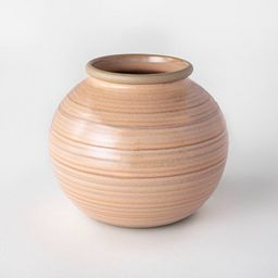 "6"" Ceramic Glazed Ribbed Bud Vase Peach - Threshold™ designed with Studio McGee | Target"