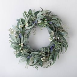 """26"""" Artificial Eucalyptus and Berries Wreath Blue/Green - Threshold™ designed with Studio McGee 