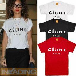 Details about  Celine Paris T Shirt Celebrity Fashion Top New Black Womens Celine Tumblr Summer   eBay UK