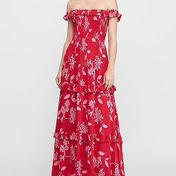 Floral Off The Shoulder Tiered Maxi Dress   Express