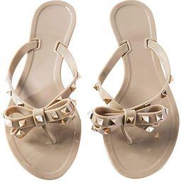 Mtzyoa Women Bow Pearls Flip-Flops Sandals Beach Flat Rivets Rain Jelly Shoes | Amazon (US)