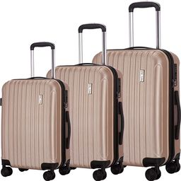 Luggage Set 3 Piece Suitcase ABS Trolley Spinner Hardshell Lightweight Suitcases TSA (Champagne) | Amazon (US)