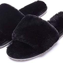 Women's Fuzzy Fluffy Furry Fur Slippers Flip Flop Open Toe Cozy House Memory Foam Sandals Slides ...   Amazon (US)