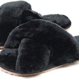 Women's Fuzzy Crossband Fluffy Furry Fur Slippers Flip Flop Winter Warm Cozy House Memory Foam Sa...   Amazon (US)