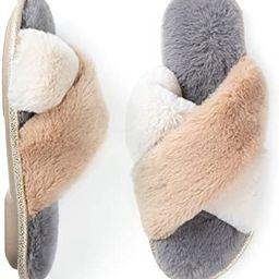 ZIZOR Women's Fuzzy Crossed Memory Foam Open Toe Slippers, Ladies Fluffy Rhinestone Embellished S...   Amazon (US)