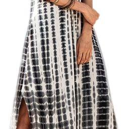 Women Summer Casual Maxi Dress Loose Pockets Short Sleeve Split Boho Dresses | Amazon (US)