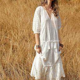 Tie Neck Frill Trim Schiffy Dress | SHEIN