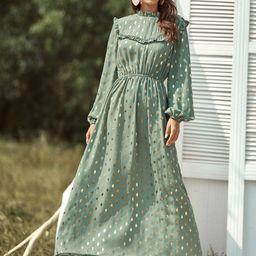 Metallic Polka Dot Frill Trim Dress | SHEIN