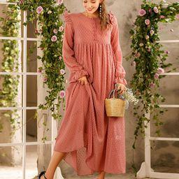 Swiss Dot Ruffle Trim Babydoll Dress | SHEIN