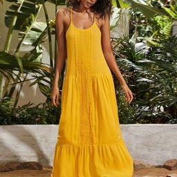 Flippy Hem Guipure Lace Insert Cami Dress | SHEIN