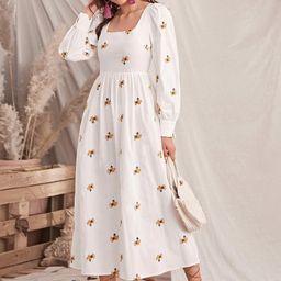 SHEIN Bishop Sleeve Floral Embroidered Dress | SHEIN