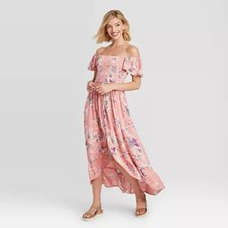 Women's Floral Print Short Sleeve Smocked Top Button-Front Dress - Xhilaration™ | Target
