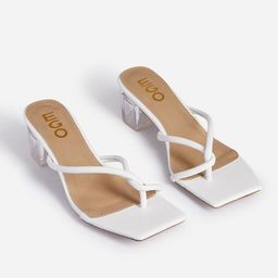 Twinkle Square Toe Thong Clear Perspex Midi Block Heel Mule In White Faux Leather | EGO Shoes (US & Canada)