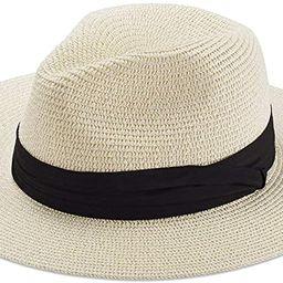 Women Straw Hat Panama Fedoras Beach Sun Hats Summer Cool Wide Brim UPF50+ | Amazon (US)