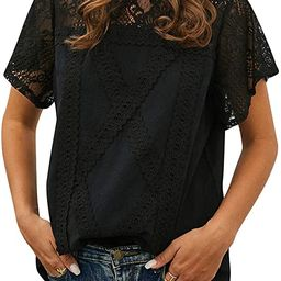 ZXZY Women Cute Lace Blouse Top Short Sleeve Lace Hollow Out Turtle Neck T Shirt | Amazon (US)
