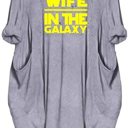 Dropeon Women's Best Wife in The Galaxy Long Sleeve Oversize Baggy Dresses with Pockets | Amazon (US)