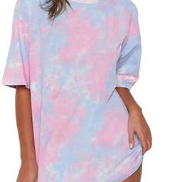just quella Oversized T Shirts for Women Loose Casual Short Sleeve Tie Dye Tops Tees Mini Dress | Amazon (US)