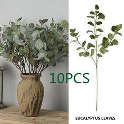 Willstar 5/10pcs Green Artificial Money Leaf Eucalyptus Plant Decoration Fake Flower Faux Foliage... | Walmart (US)