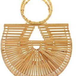 Miuco Womens Bamboo Handbags Handmade Purses Tote Bag | Amazon (US)