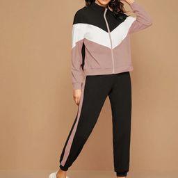 SHEIN Zip Up Chevron Colorblock Sweatshirt & Joggers Set | SHEIN