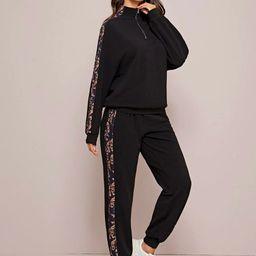 SHEIN Zip Half Placket Scarf Print Sideseam Pullover & Sweatpants Set | SHEIN