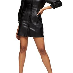 Long Sleeve Faux Leather Shirtdress   Nordstrom